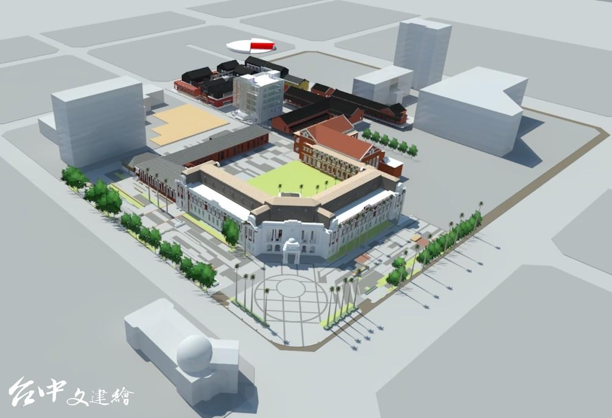 台中州廳與大屯郡役所拆除後的模擬圖。(圖:台中市文化局)