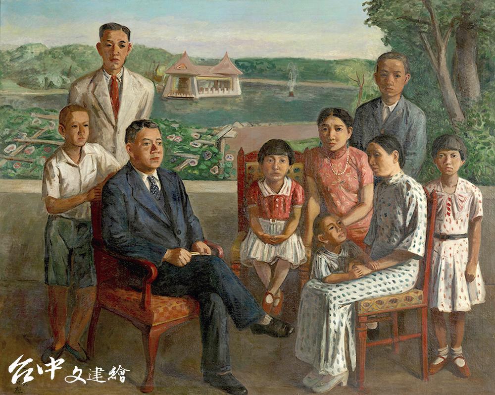 李石樵,〈楊肇嘉氏之家族〉,1936,油彩、畫布,179X226 公分。私人收藏。(圖:國美館)