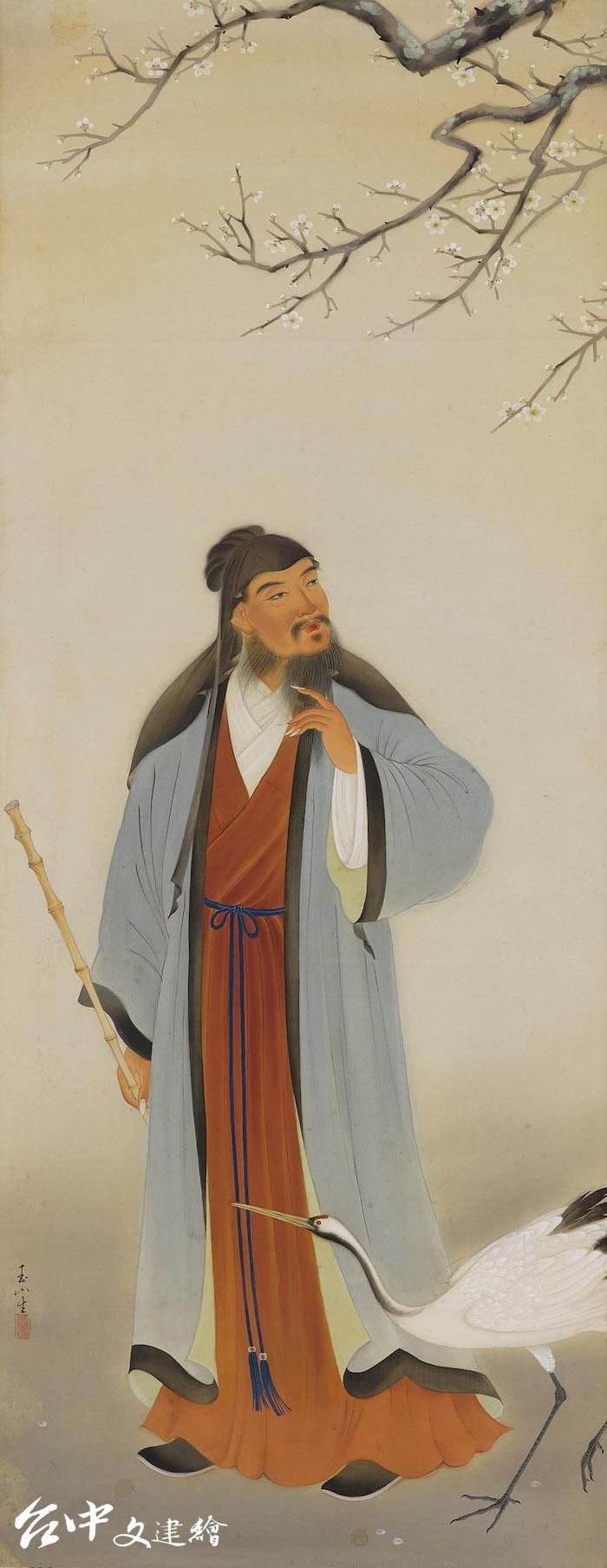林玉山,〈林和靖〉局部,1934,膠彩。(圖:國立臺灣美術館)