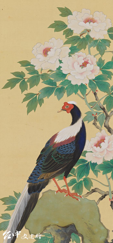林玉山,〈牡丹藍腹春〉局部,1937,膠彩。(圖:國立臺灣美術館)