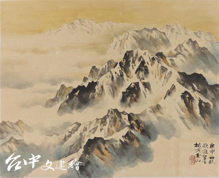 林玉山,〈瑞士雪山〉,1980,彩墨、金(圖:國立臺灣美術館)