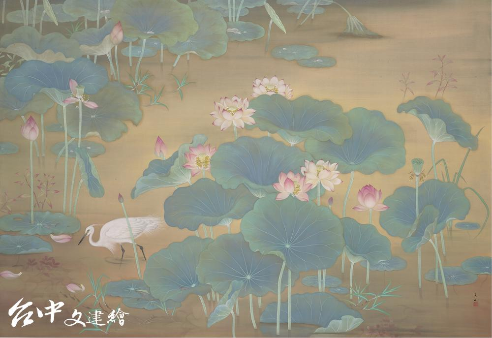 林玉山,〈蓮池〉,1930,膠彩、絹本,147.5×215 cm,國立台灣美術館典藏(圖:國美館)