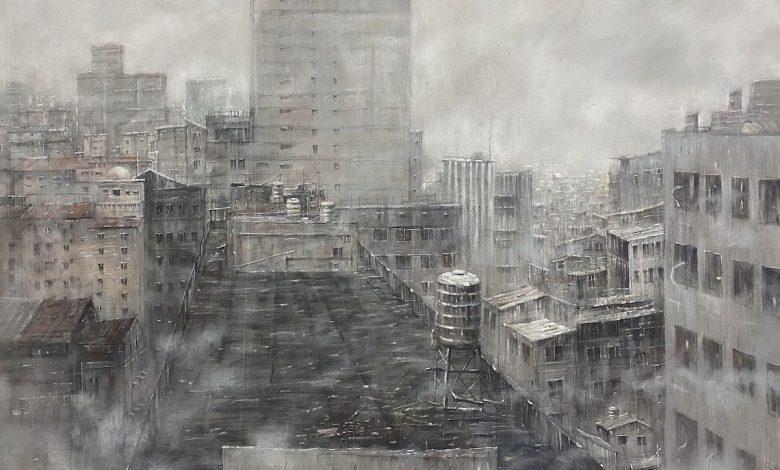 2021 年 「大墩美展」水彩類首獎,鍾子逸〈迷霧之間〉。(圖:台中市文化局)