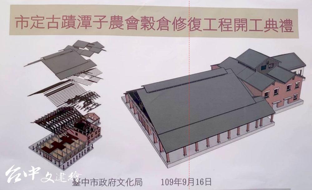 台中潭子穀倉,建築物共分三個空間,面積最大的左側為散積稻穀空間、中間紅磚建築為碾米廠、右側較矮被遮住的是袋裝糙米空間。(圖:台中市文化局文資處)