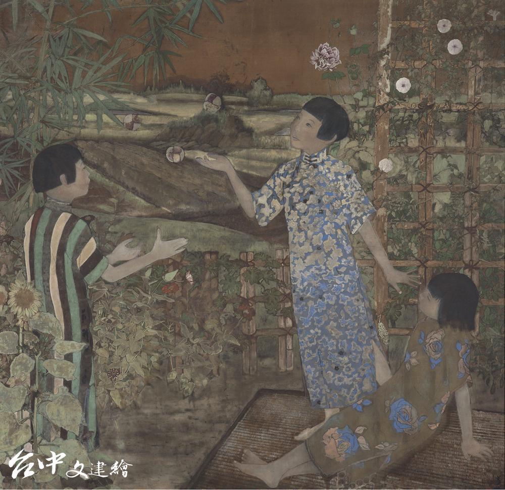 薛萬棟,〈遊戲〉,1938,膠彩、絹本171.2×177 cm,國立台灣美術館典藏(圖:國美館)