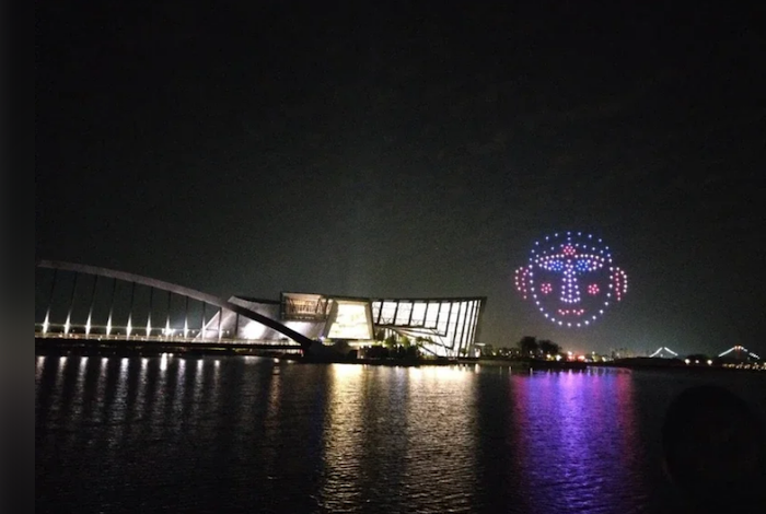 故宮南院 7、8月晚上推出無人機表演。此為去年底活動。(圖:故宮南院)