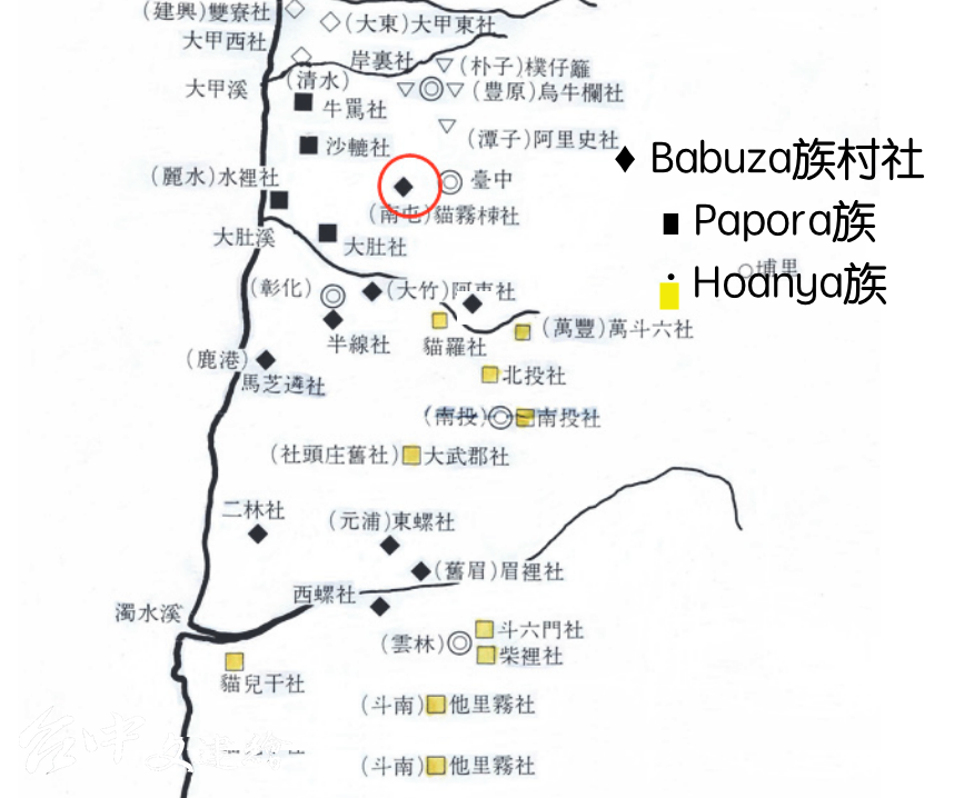 台灣西部平埔族村社分布圖,局部(來源:簡史朗《「猫霧捒社」的族群歸屬辨正》,原圖:土田滋)