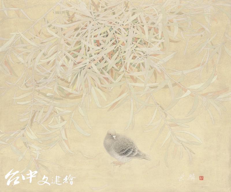 鄭營麟〈回首〉20F,2020。(圖:台中市文化局)