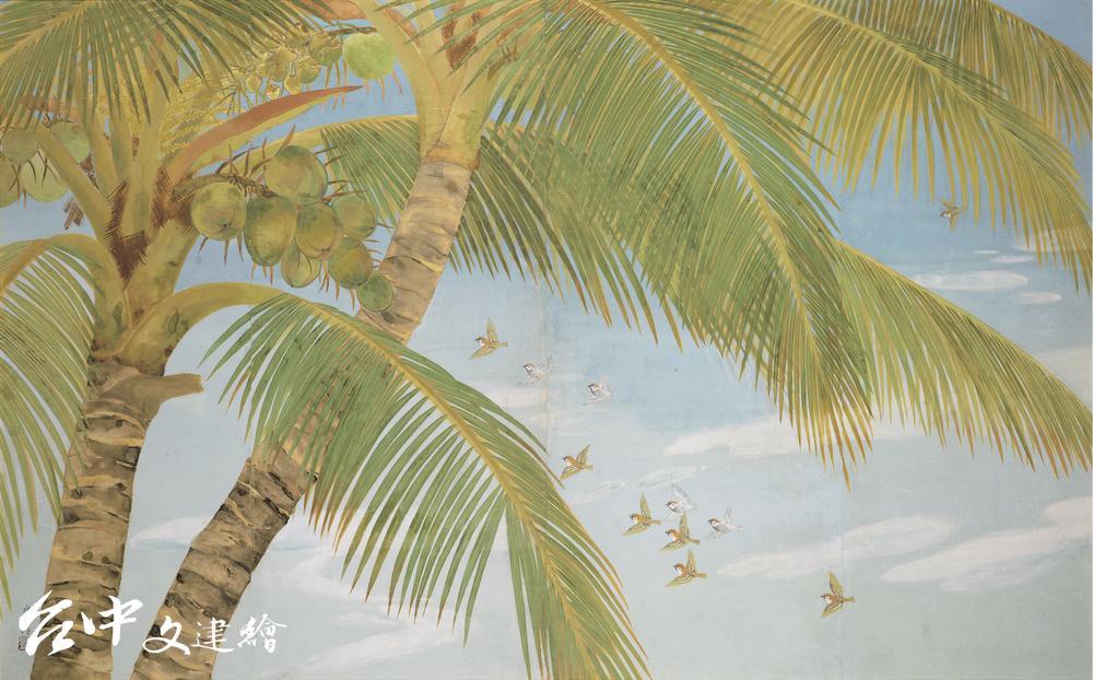 黃水文,〈南國初夏〉1940,膠彩、紙本,155.5×247 cm,國立台灣美術館典藏(圖:國美館)