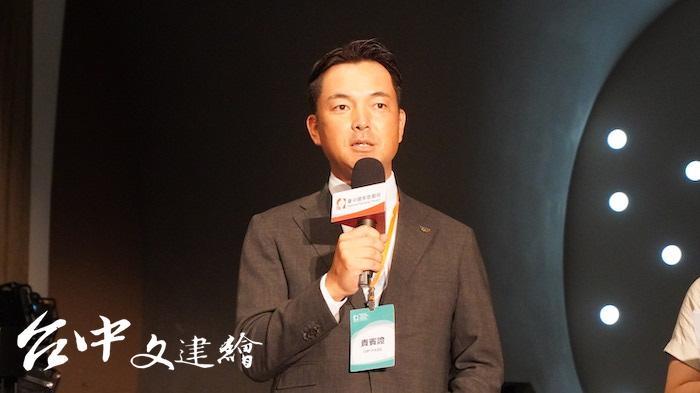 台灣松下電器整合方案事業執行長今西雅也(Imanishi Masaya)表示,此次為 Panasonic 首次嘗試在 19 公尺上的曲牆進行投影,難度頗大。(攝影:謝平平)