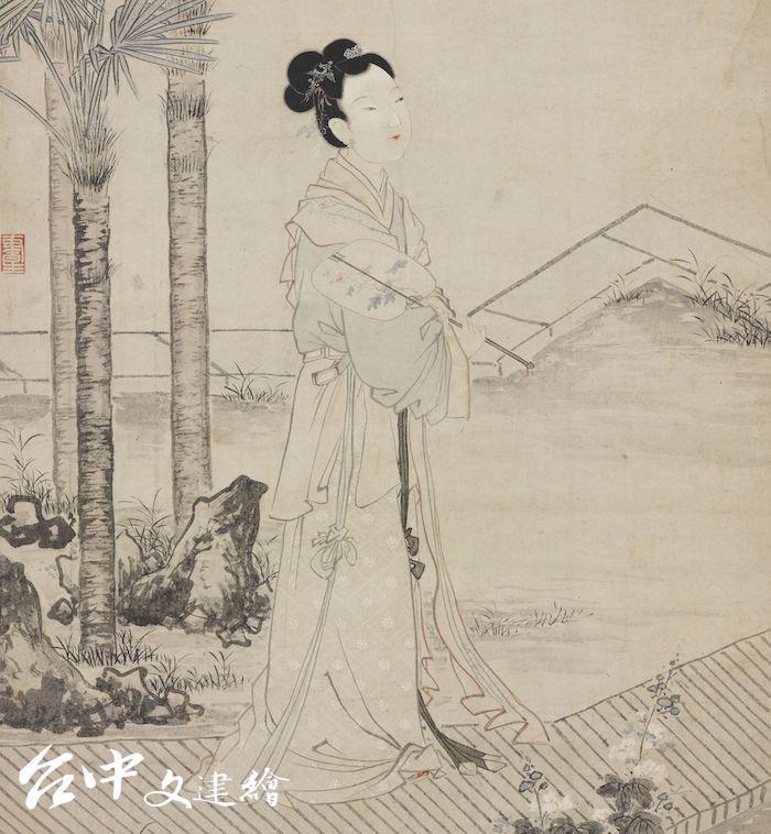 明 唐寅 班姬團扇圖(局部)(圖:國立故宮博物院)