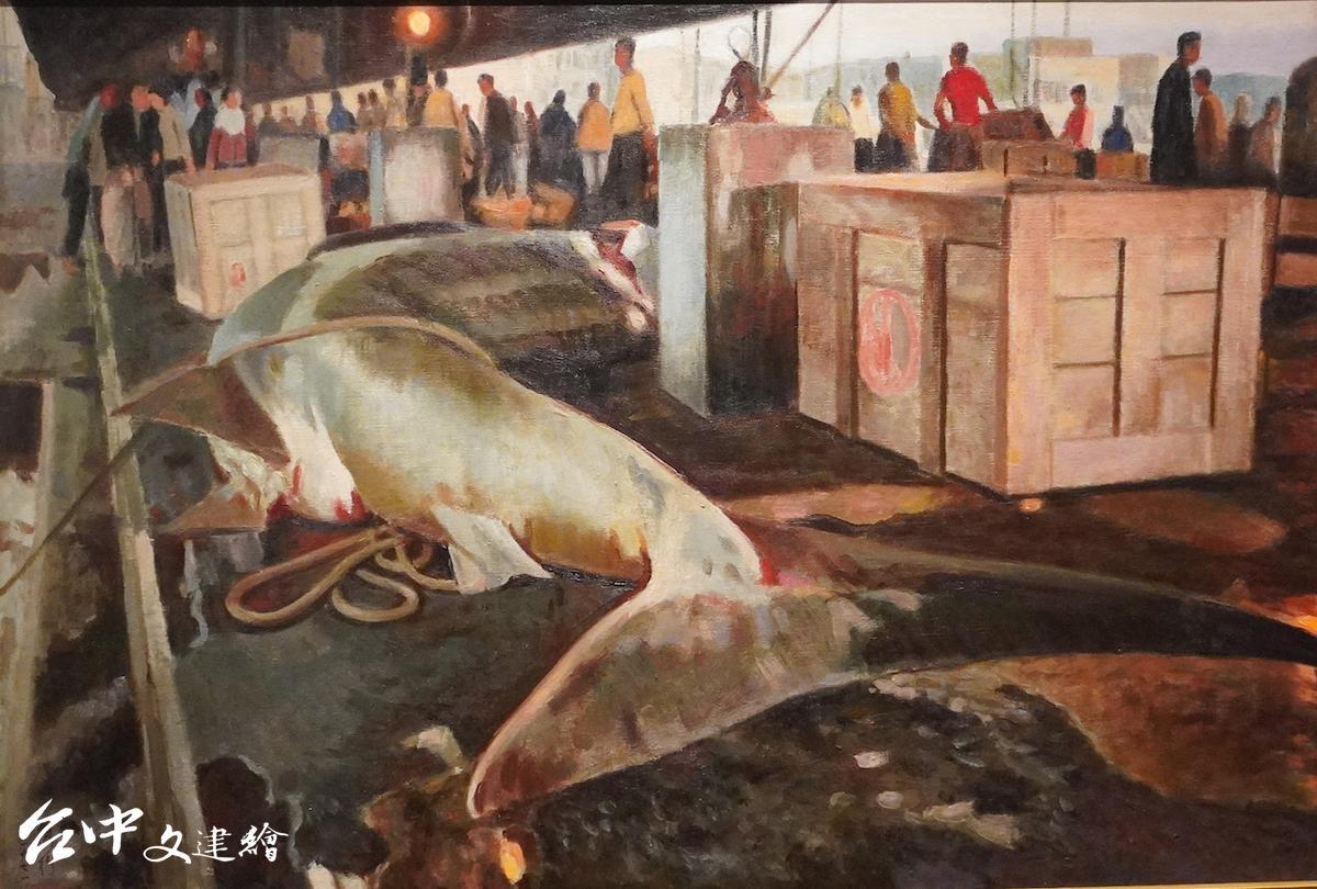 清晨魚市,李梅樹,1971,油彩。(翻攝:謝平平)