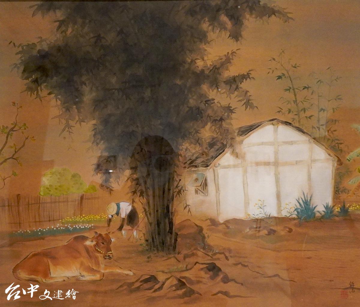 菜園景色,蔡草如,1949,膠彩。(翻攝:謝平平)