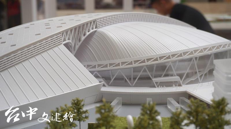 竹間聯合建築師事務所「台中巨蛋」模型可看出主結構與次要結構。(翻攝:謝平平)