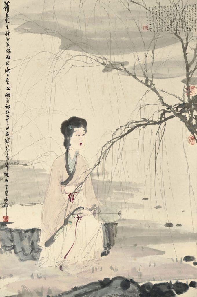 「霧明樓」舊藏,傅抱石《柳溪仕女》,以 2537 萬 5 千港幣(約 1 億台幣)。(圖:蘇富比拍賣)