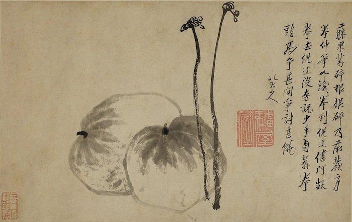 八大山人《蕨瓜圖》。(圖:蘇富比拍賣)
