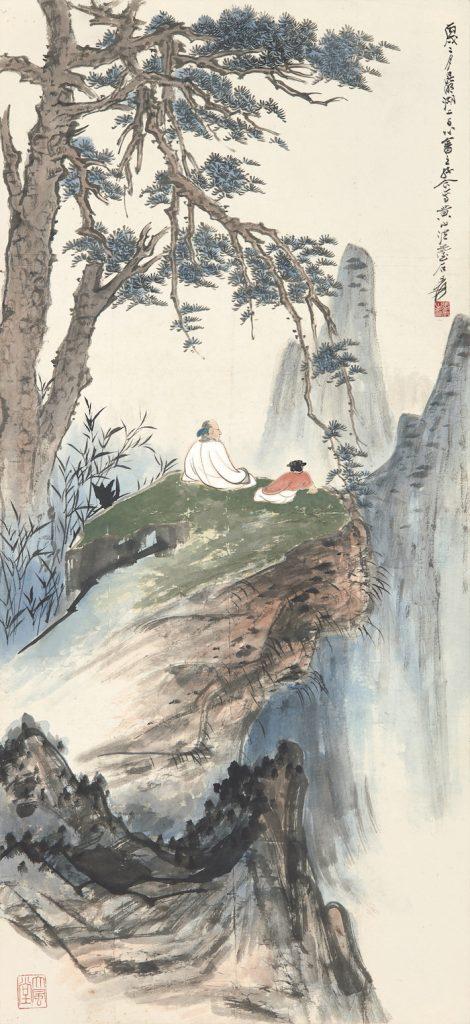南張北溥合作之《松崖高逸》。(圖:蘇富比拍賣)