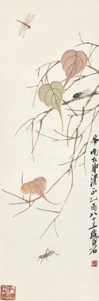 齊白石紙本立軸《貝葉草蟲》以 1,037 萬 5 千港幣(約 4100萬台幣)成交。 (圖:蘇富比拍賣)