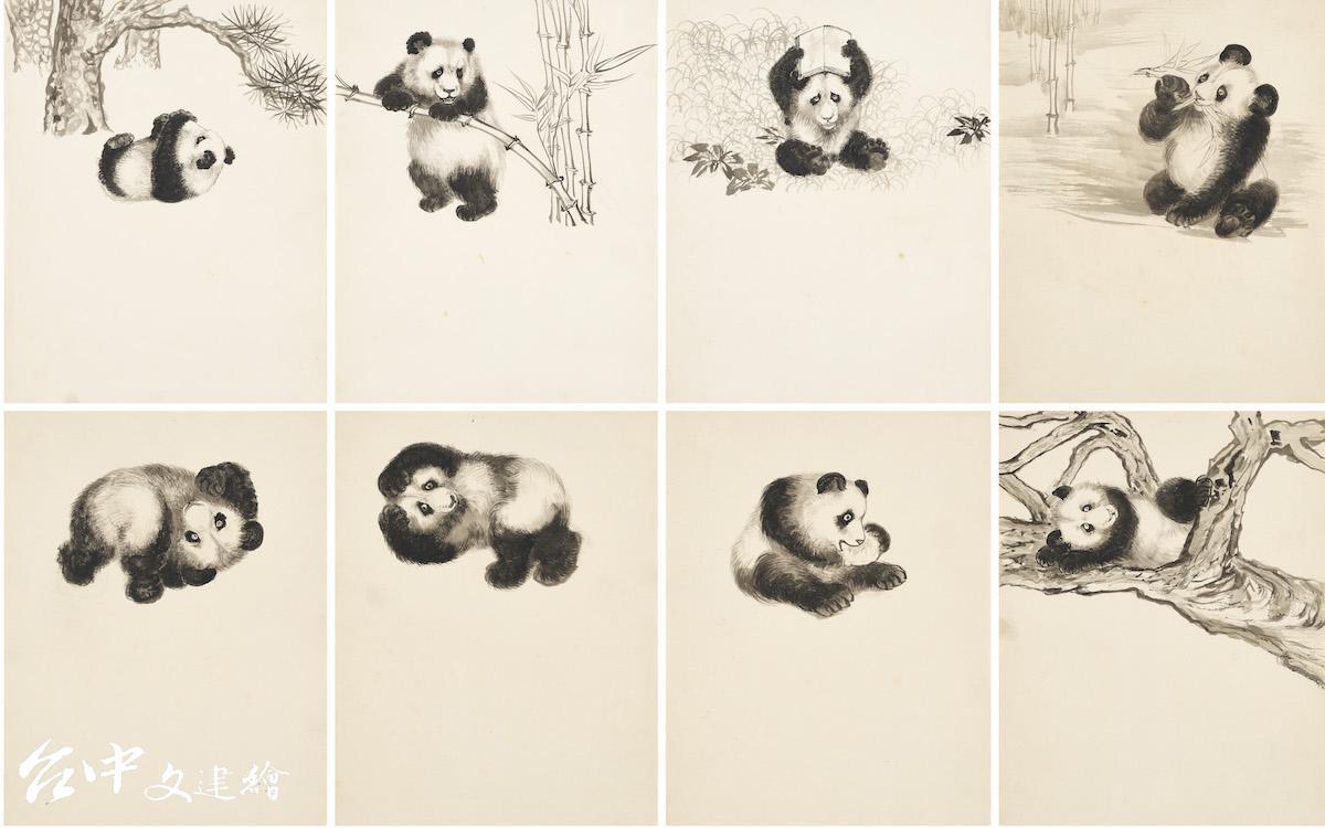 張善孖,〈大熊貓〉局部,水墨紙本(未裱),27.5  x 21 公分(共 24 幅)。拍價預估為 150,000 – 250,000 港元(19,000  – 32,000 美元)。(圖:佳士得,2021)