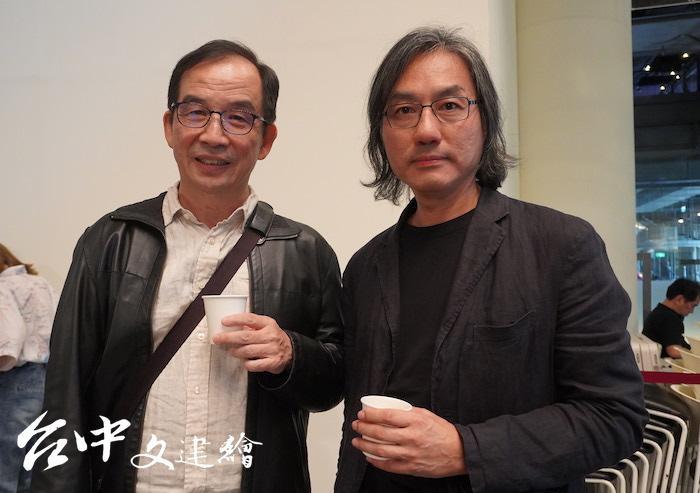 國美館第三任館長李戊崑(左)、建築師楊家凱(右)(攝影:謝平平)