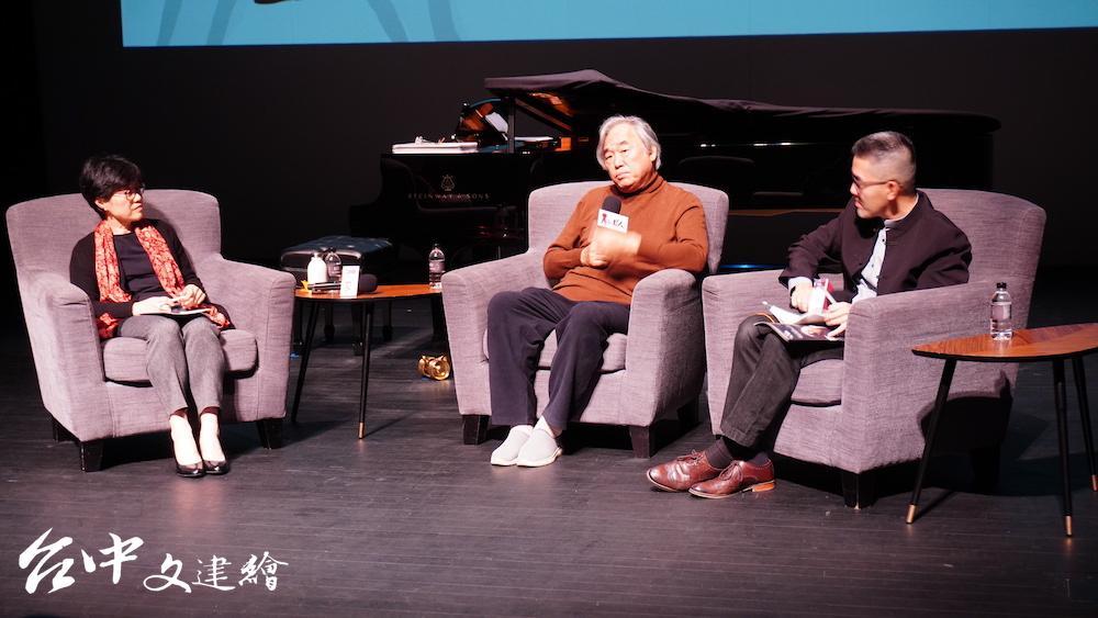 白建宇(Kun-woo Paik,中)暢談他對貝多芬的理解。左為台中歌劇院總監邱瑗、右為資深樂評焦元溥。(攝影:謝平平)