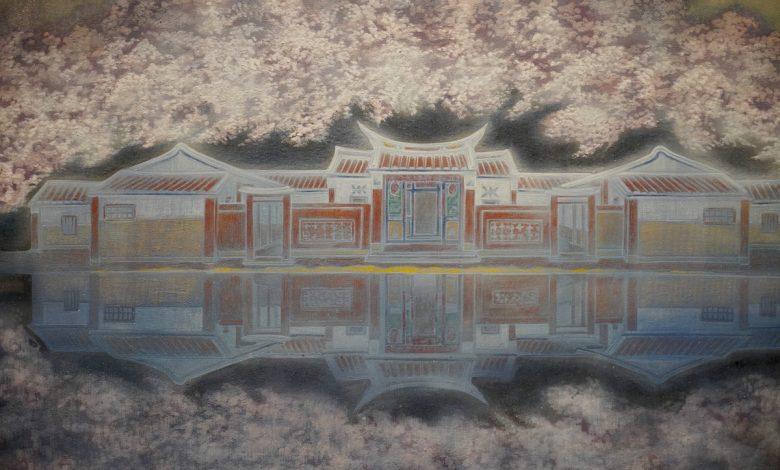 呂金龍,膠彩,水映(局部),100X61公分,2015。(圖:台中文建繪)