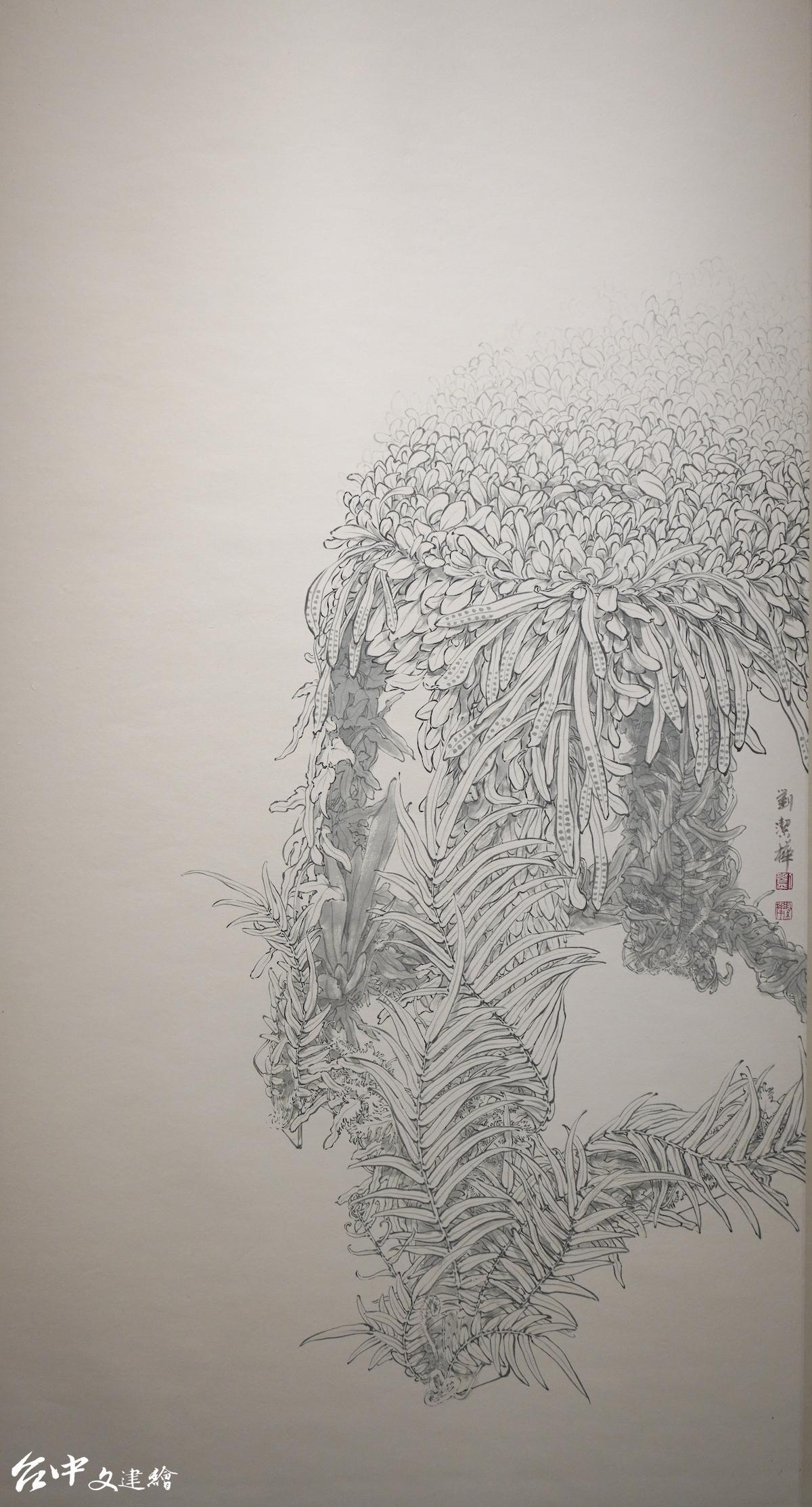劉潔樺,水墨,生生,138X69公分,2019。(圖:台中文建繪)