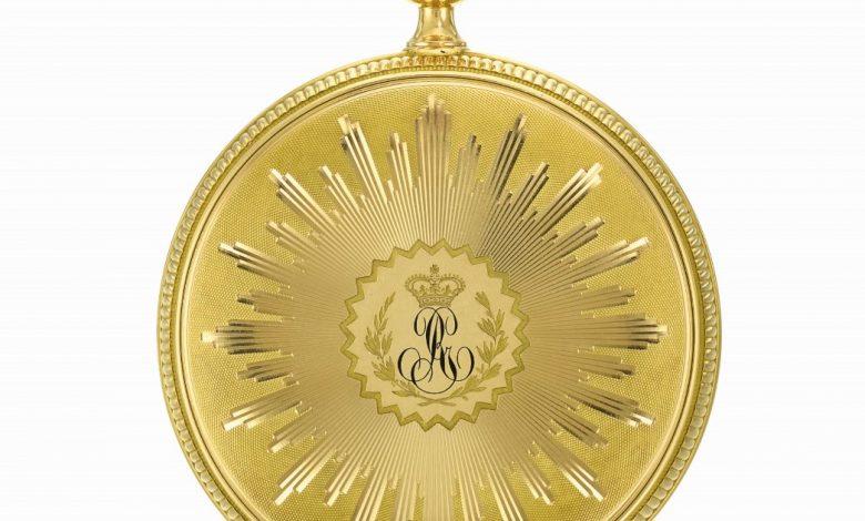 鐘錶大師寶璣所製造的第一只陀飛輪金錶,訂製者為英王喬治三世,今年以遠超過估價 6 千萬台幣成交。(圖:業者提供)