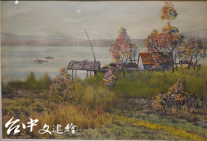 施翠峰,河邊秋色,水彩,68X86 公分。(攝影:謝平平)
