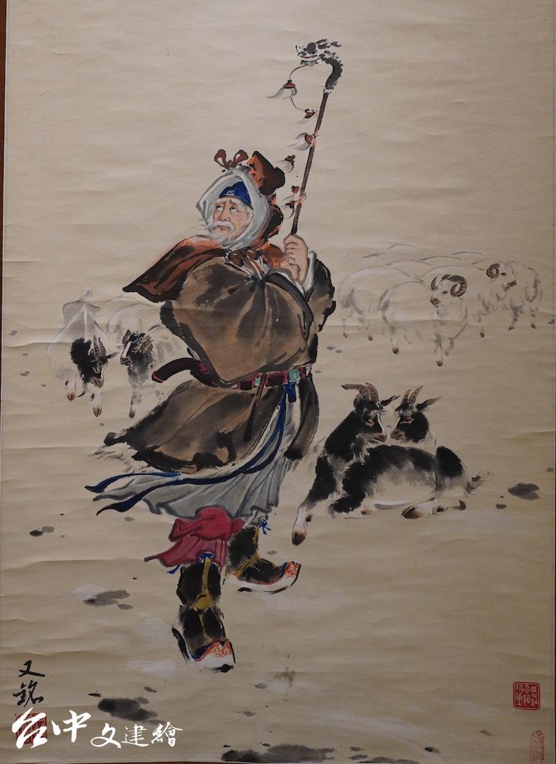 梁又銘,勁節高峰(局部),水墨,222.5X93.5 公分。(攝影:謝平平)