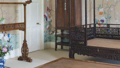 「維甯漢莊園中國古典傢俱」專拍的黃花梨四合如意團螭紋圍子六柱架子床。(圖:業者提供)