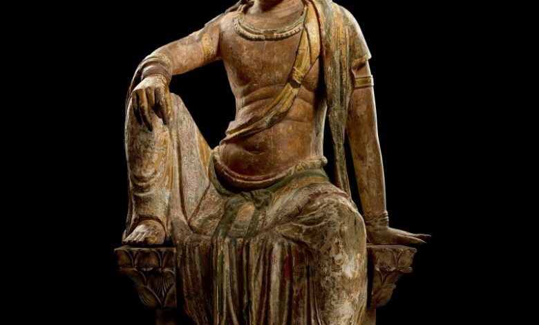 宋木雕加彩觀世音菩薩坐像,估價約 8 億 5, 441萬台幣。(圖:業者提供)